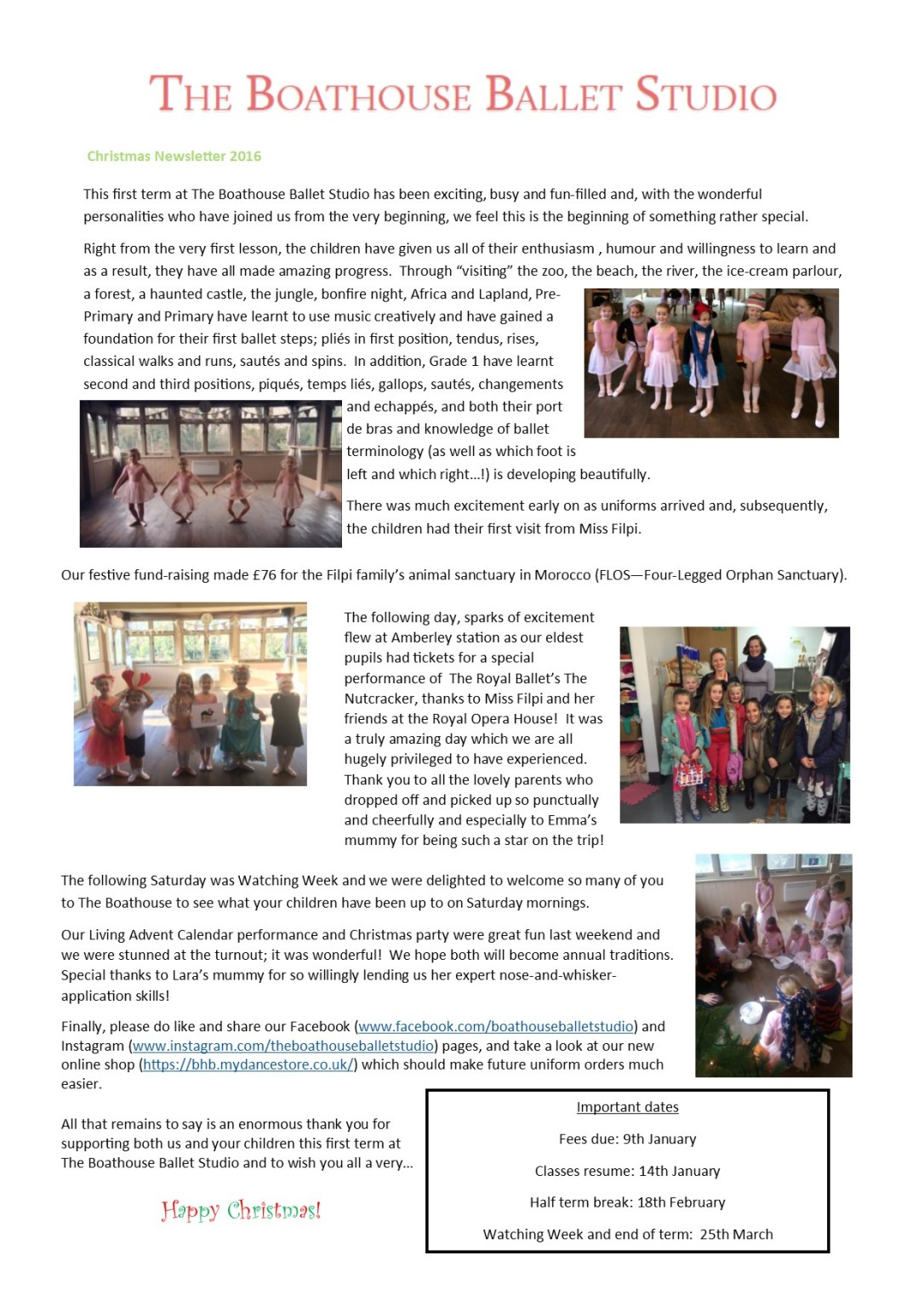 Newsletter Christmas term 2016 as image